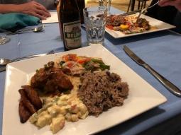 Jerk chicken, rice and beans, veggies, plantain, potato salad